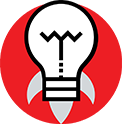 A lightbulb icon shaping as a rocket in flight